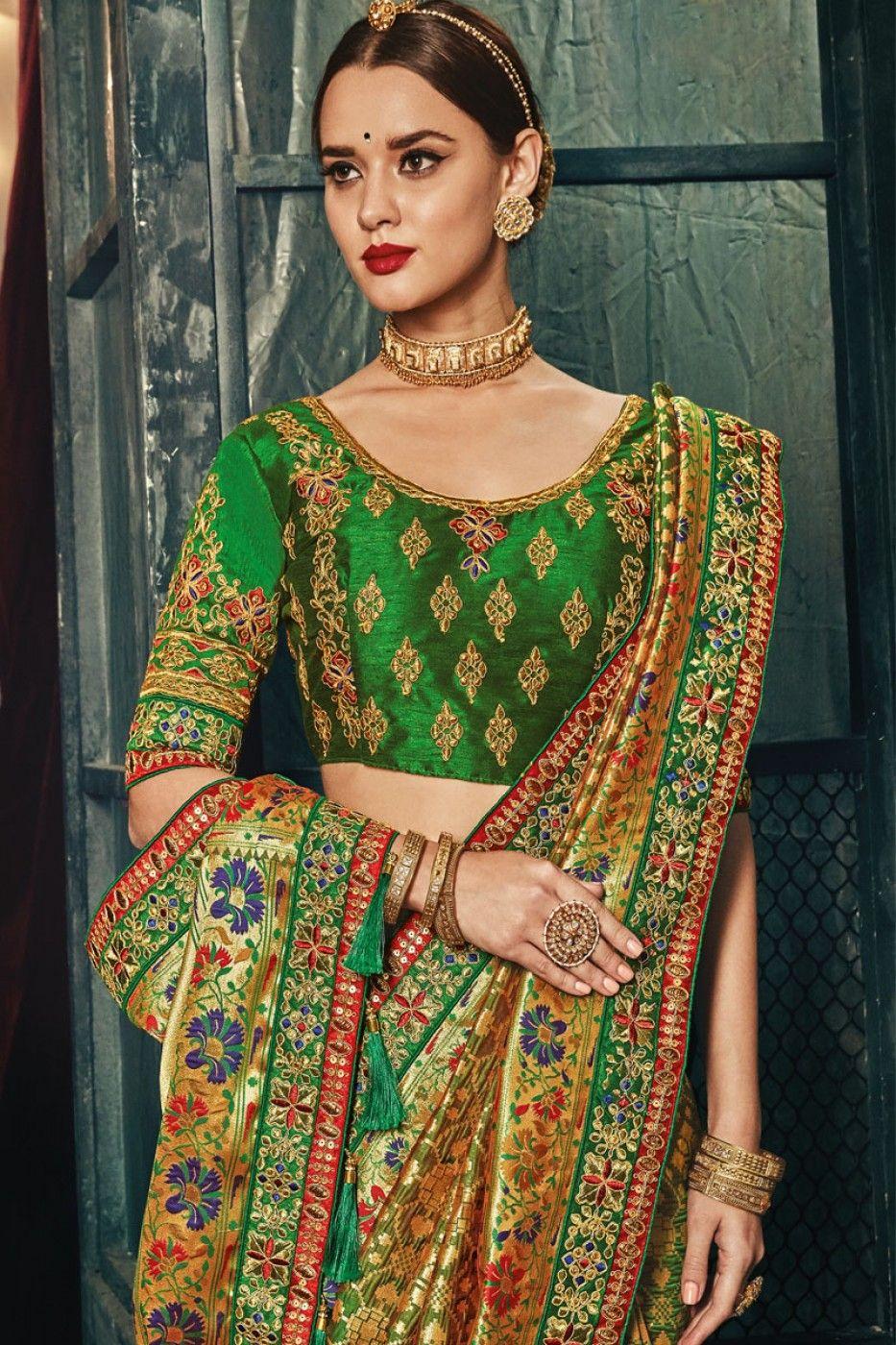16cecac396f112 Gold   Green Color Banarasi Silk Fabric Heavy Floral Embroidery Work Indian Wedding  Wear Traditional Designer Saree