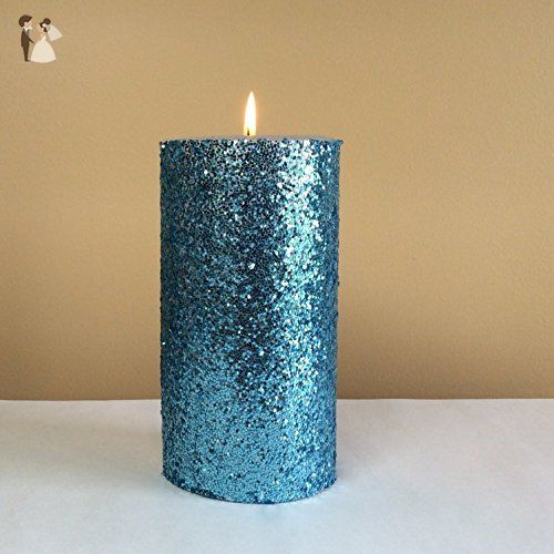 Light Blue Glitter Pillar Candle Unscented Choose 4 6 9 Inches Tall Venue And Reception Decor Amazo Pillar Candle Decor Pillar Candles Sparkling Candle