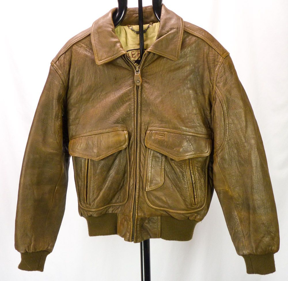 Vintage Members Only Voyager Distressed Brown Leather Bomber Jacket Mens 38 M Brown Leather Bomber Jacket Leather Bomber Bomber Jacket Mens [ 976 x 1000 Pixel ]