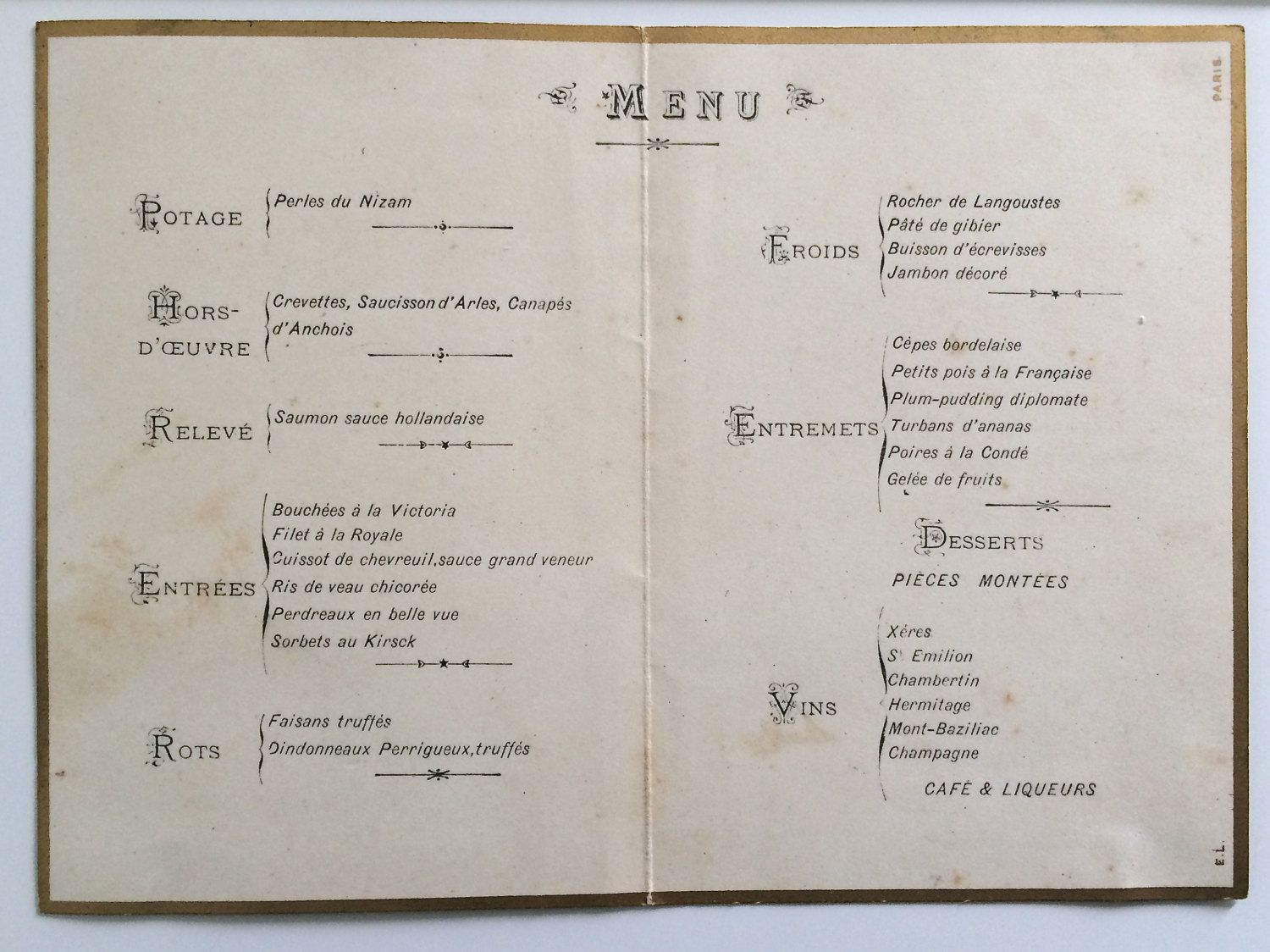 Antique French MENU circa 1900 FRENCH GASTRONOMY with sweetbreads ...