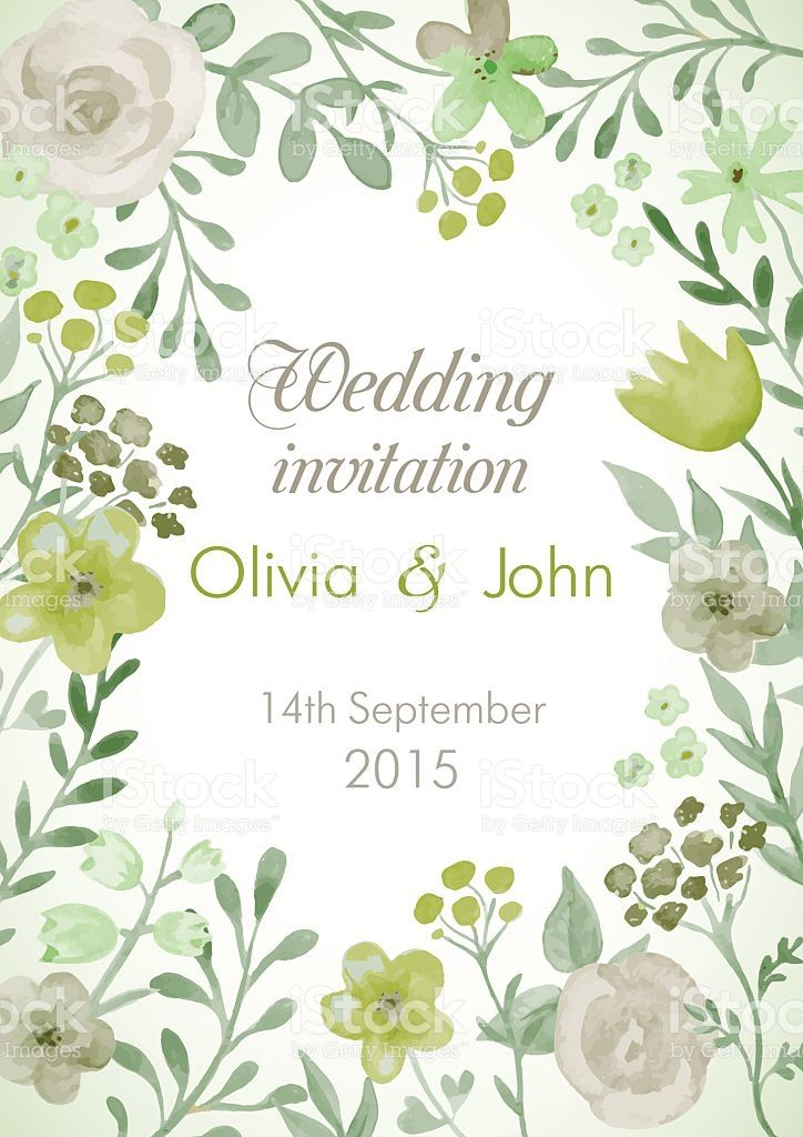 Wedding Invitation With Flowers And Leaves Watercolor Hand Painting 結婚式 招待状 花 イラスト 招待状