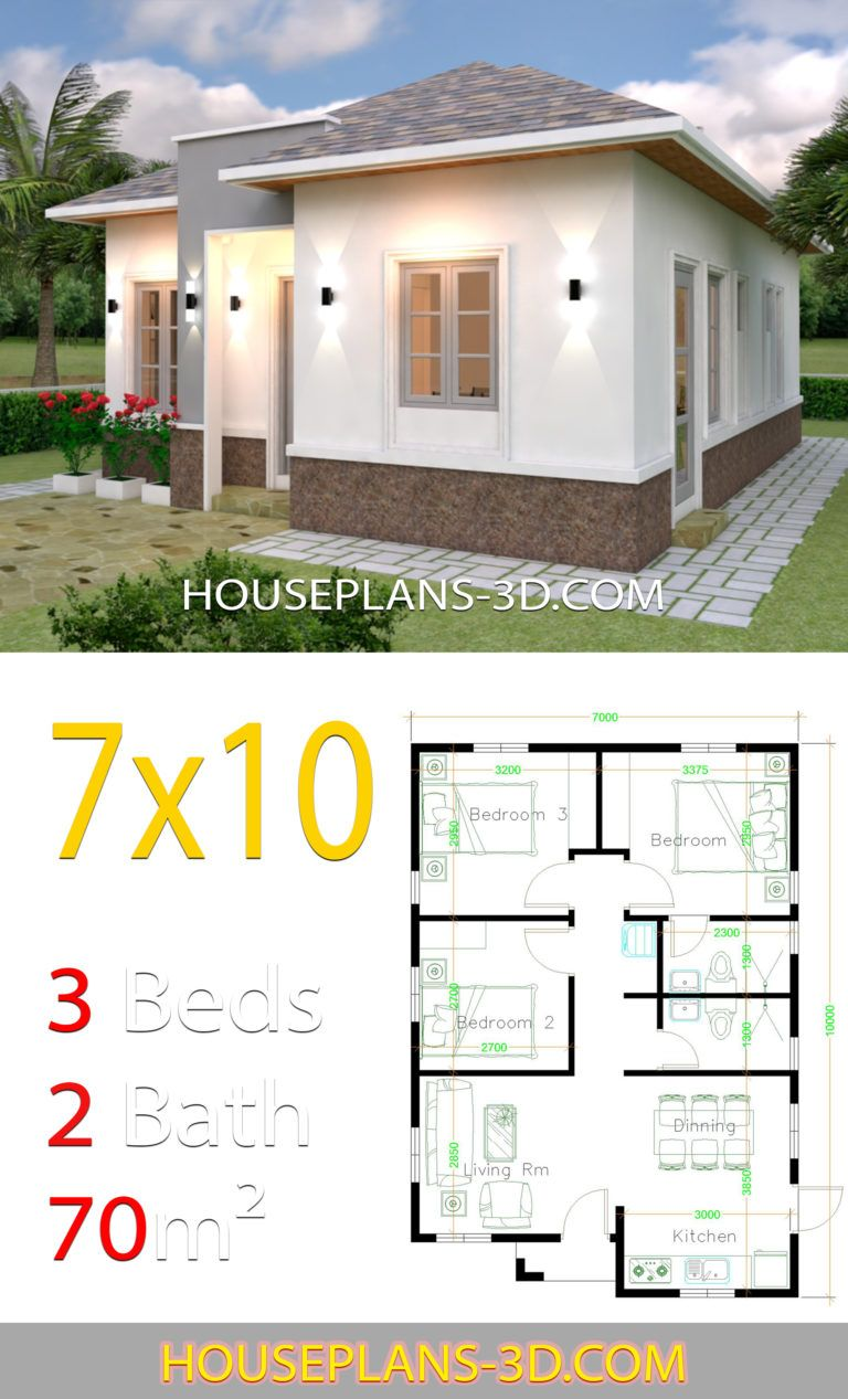 House Plans 7x10 With 3 Bedrooms House Plans 3d In 2020 Small House Design Plans House Plans Architectural House Plans