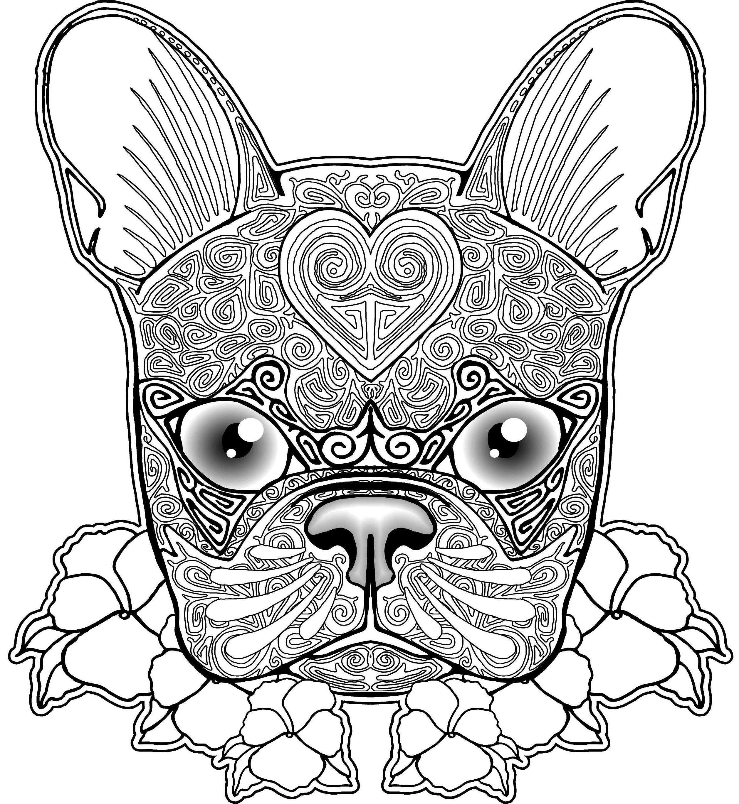 free bulldog zentangle coloring page for adults coloring