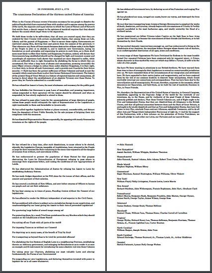 The Declaration of Independence - Complete Printable Text (PDF ...