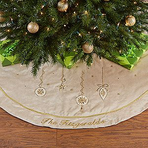Yuletide Gold Jeweled Personalized Velvet Tree Skirt. Christmas ...