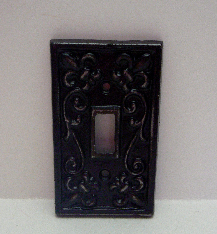 Faux Finish Fleur De Lis Turquoise Grey Decor Metal Light Switch Plate Cover