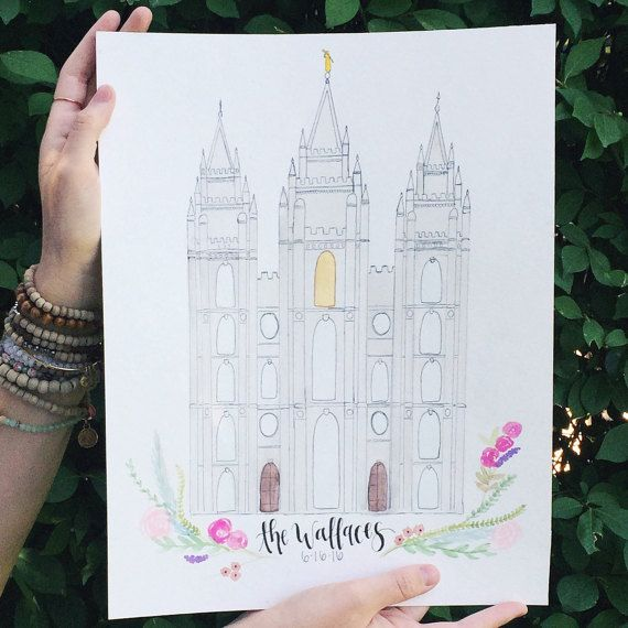 Handmade Watercolor Salt Lake City Temple by CustomsByCasso