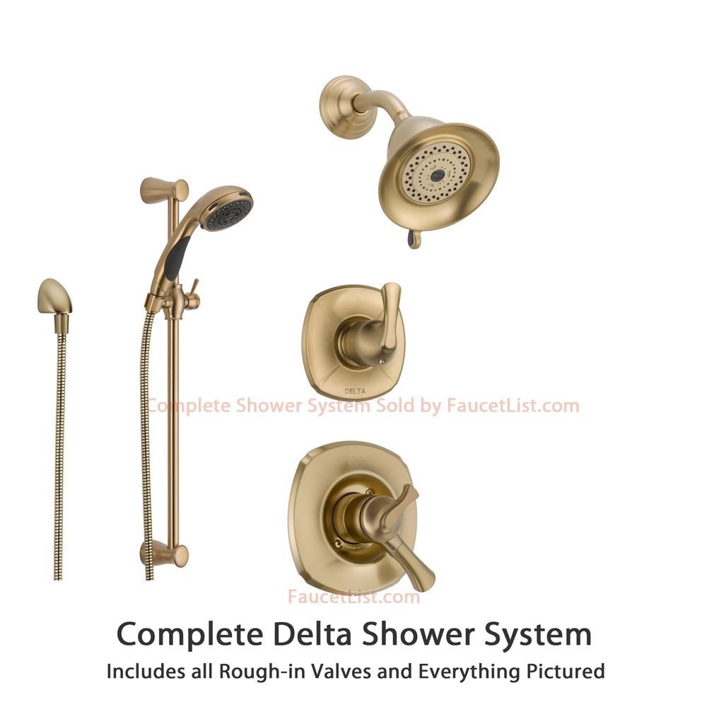 Delta Addison Champagne Bronze Shower System With Dual Control