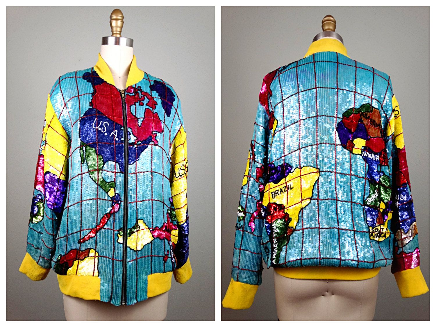 The world map sequin jacket 80s global glam fully sequined bomber the world map sequin jacket 80s global glam fully sequined bomber jacket rare gumiabroncs Image collections