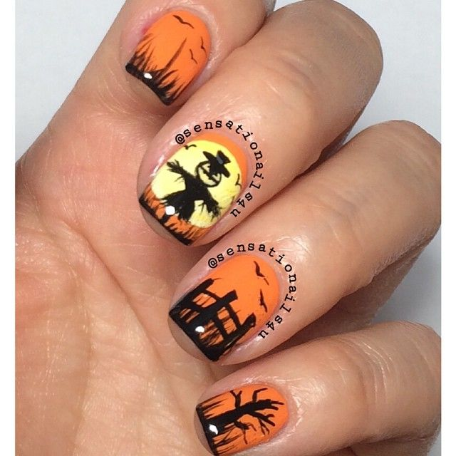 Sensationails4u On Instagram Halloween Scarecrow Nail Art All Painted With Acrylic Paint Over 2 Coats Of Op Scarecrows Nails Diy Prints Halloween Scarecrow
