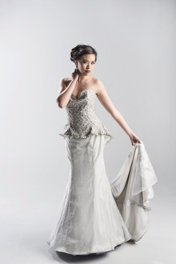 2014 new  Soft Gray Strapless Lace Mermaid Wedding Dress with Train - White, Ivory, Gray, Black - Couture Wedding Gown $162.00