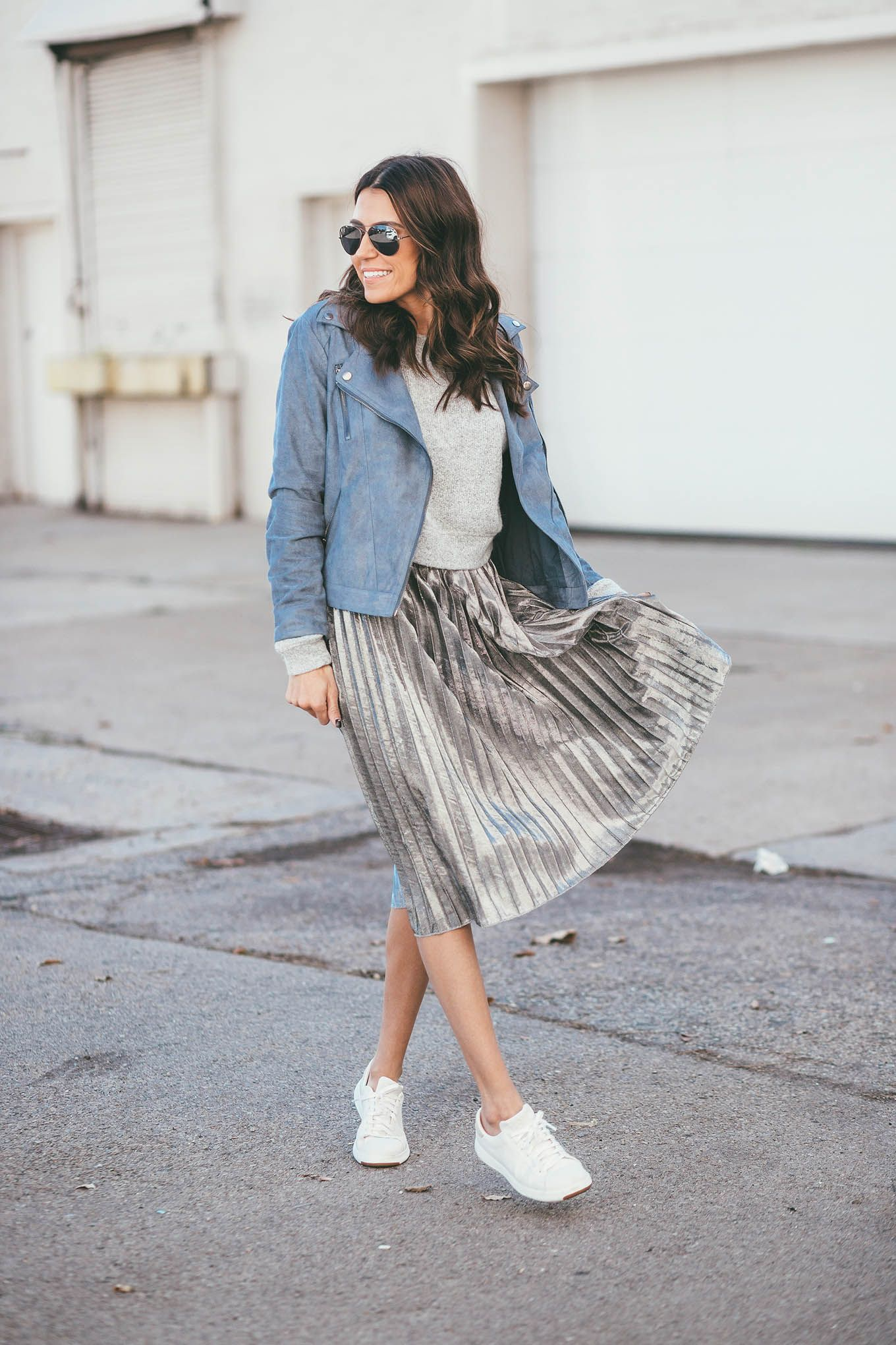 1c0a1794ebf800 Grey cropped sweater+metallic grey pleated midi skirt+white sneakers+blue  suede moto jacket+aviator sunglasses. Fall Outfit 2016