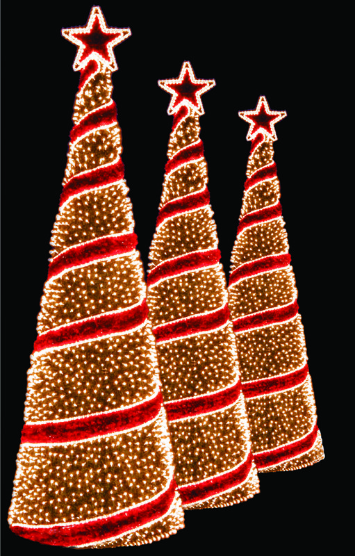 Light Up Christmas Trees Spiral Trees Holiday Outdoor Lighting For