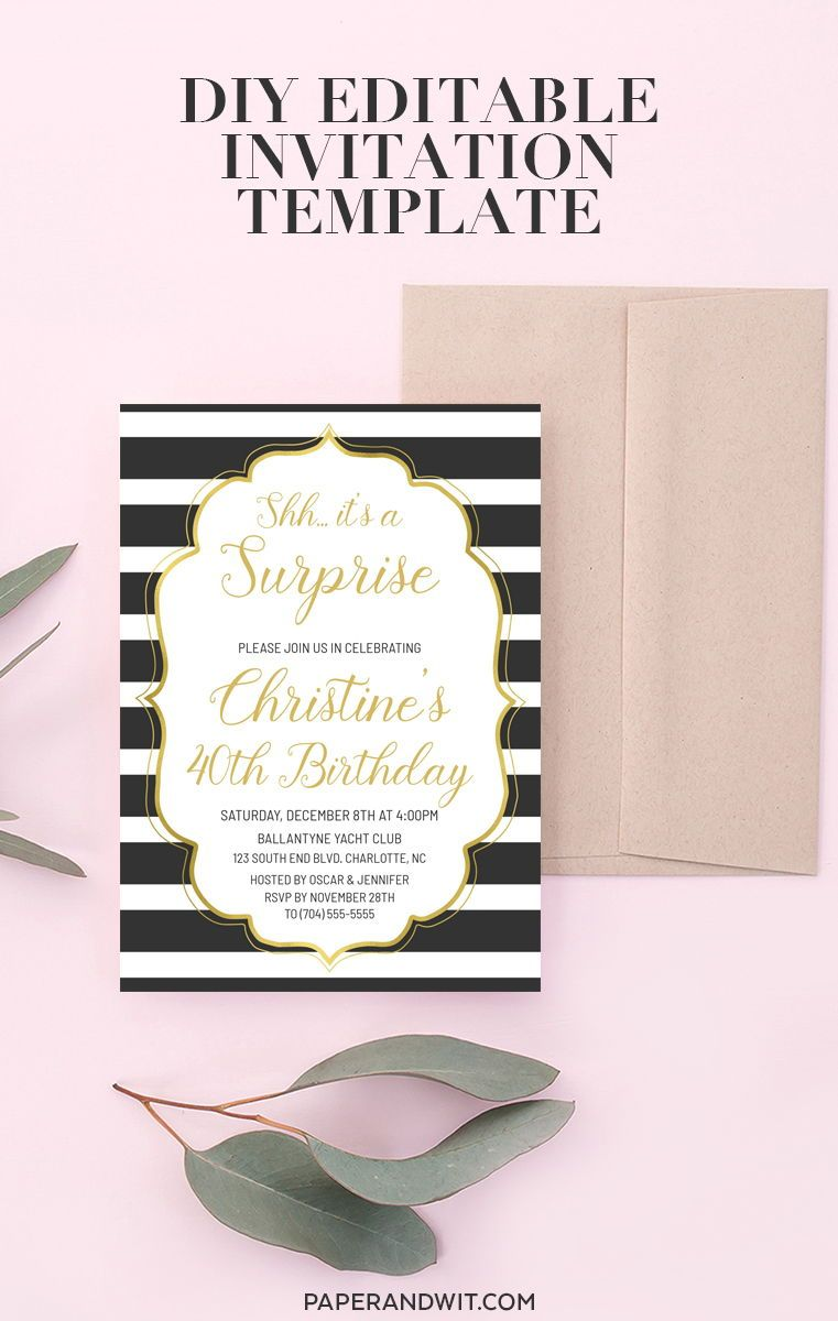 surprise birthday invitation gold shh it s a surprise party