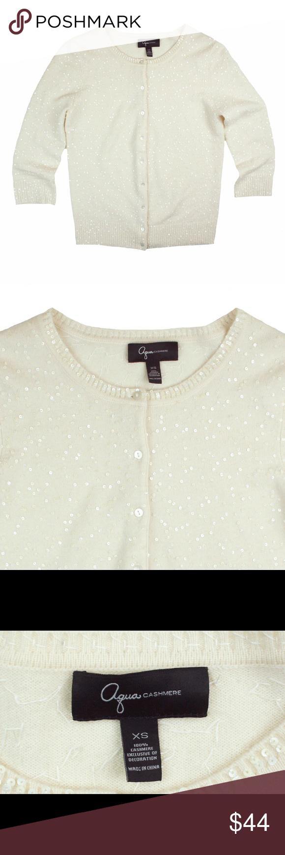 AQUA 100% Cashmere Ivory Sequin Cardigan Sweater Excellent ...