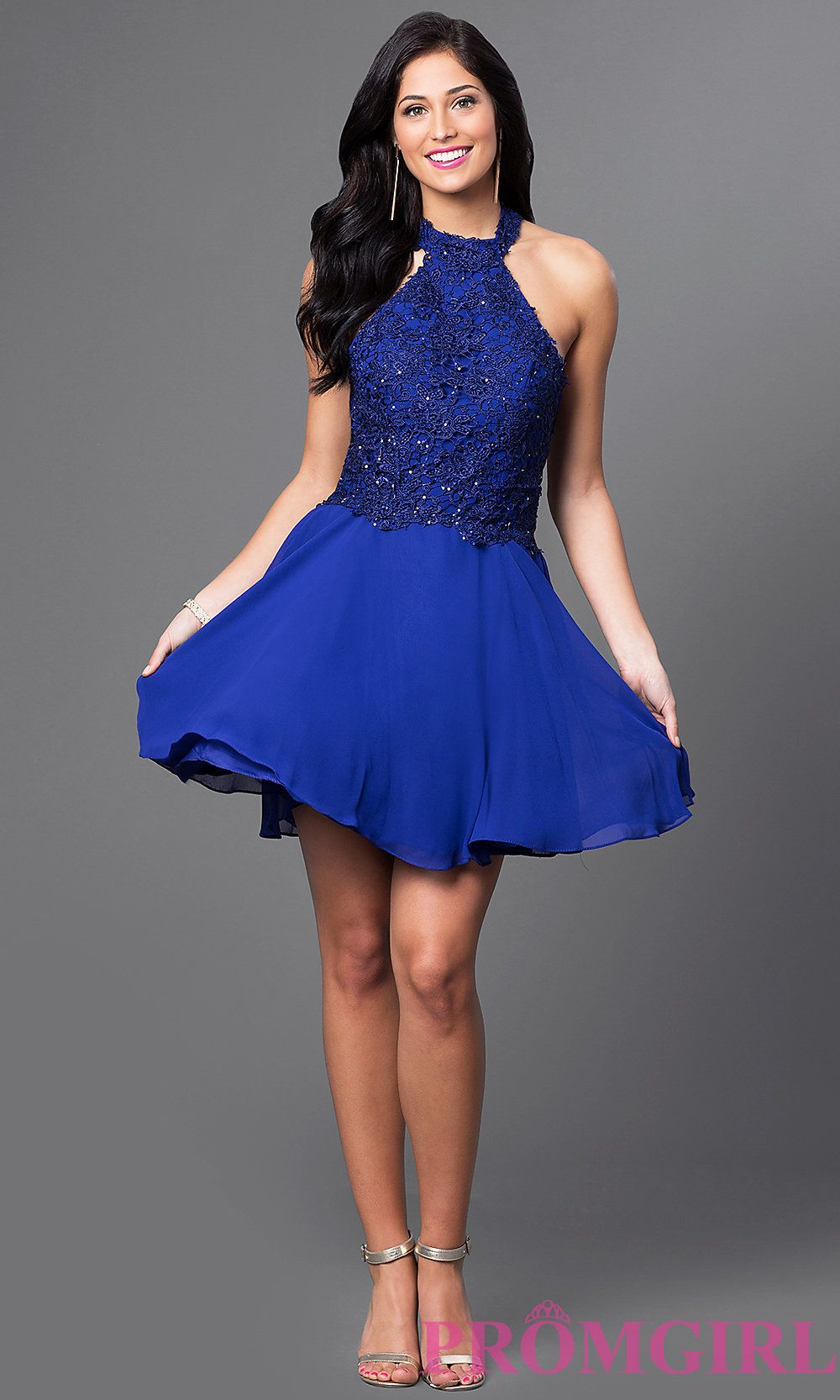 Short halter party dress with sequinedlace bodice lace bodice