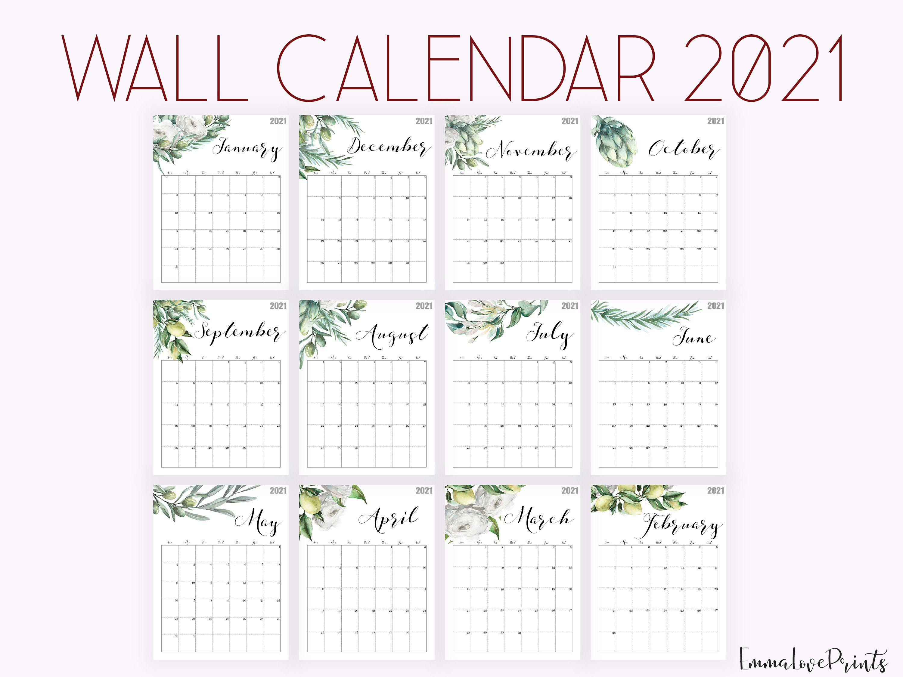 2021 Calendar Watercolour Calendar 2021 Botanical Wall Etsy Watercolor Calendar 2021 Calendar Wall Calendar