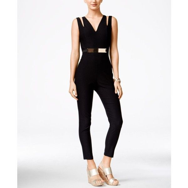 920f48ce04 Material Girl Juniors  Sleeveless Belted Jumpsuit