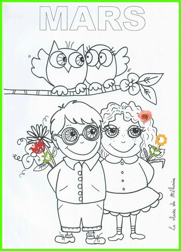 Coloriage de mars 2 le printemps la classe de m lusine - Dessin de printemps ...
