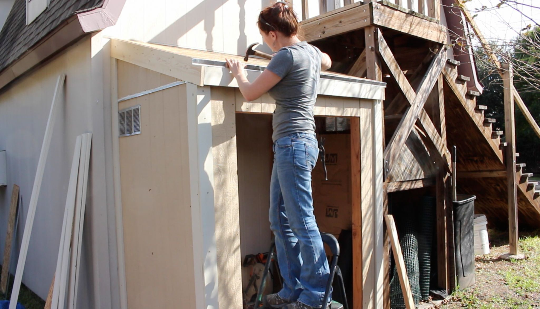 Building a lean to roof and double doors with images