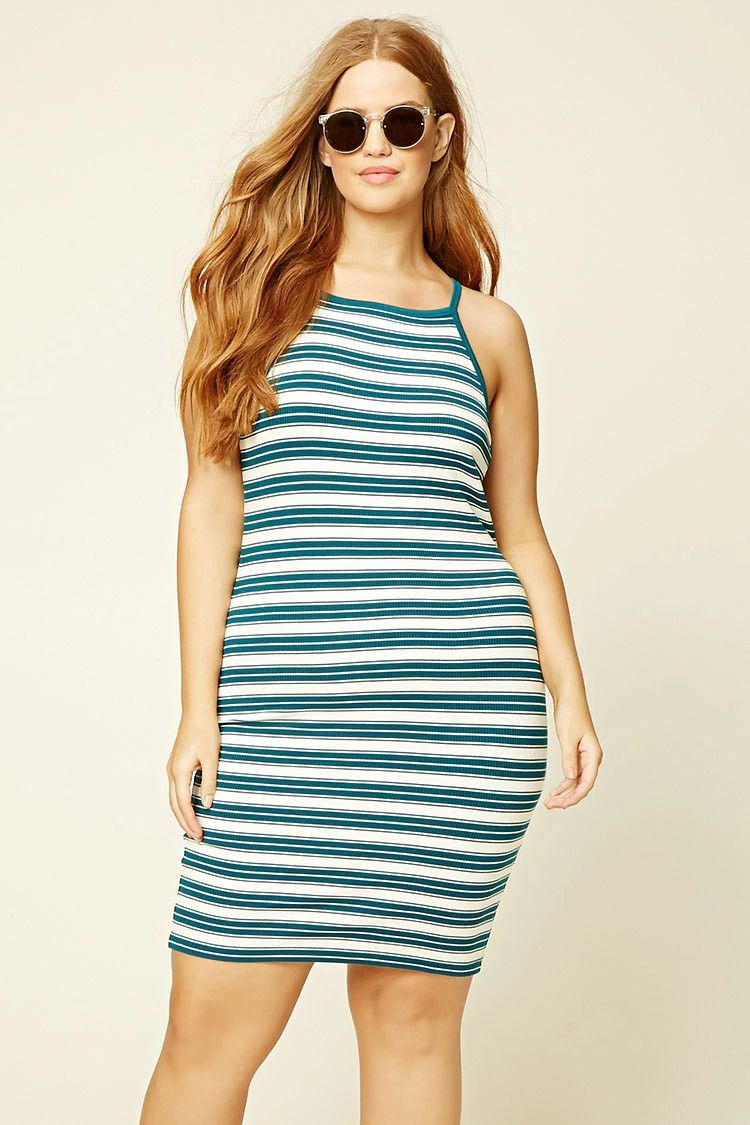 Forever 21+ - A ribbed knit bodycon dress featuring spaghetti straps ...