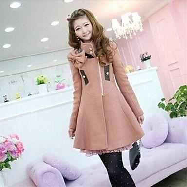 abrigo de lana del arco de cuero de las mujeres delgado coreano de larga sastre – CLP $ 21.774