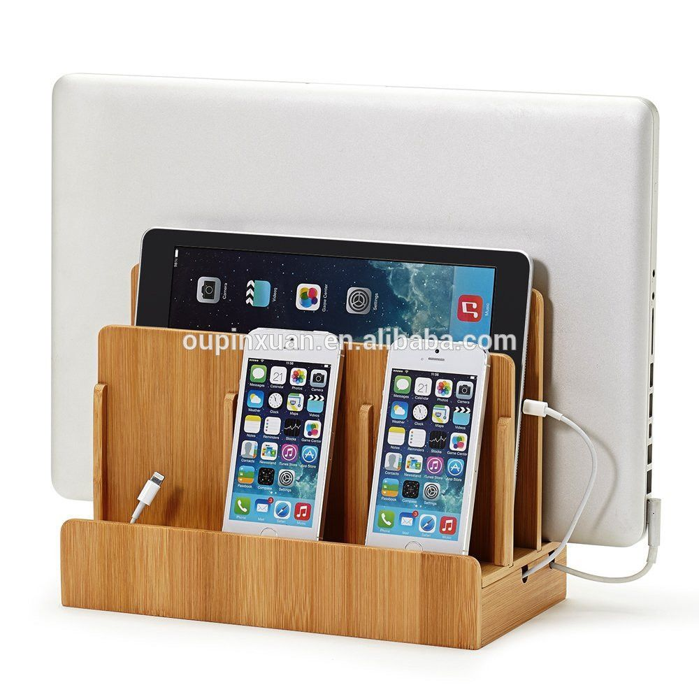 100 Bamboo Wood Multi Device Charging Station Phone Stand And Dock Charges For Phone Devices Multi Charging Station Charging Station Phone Charging Station