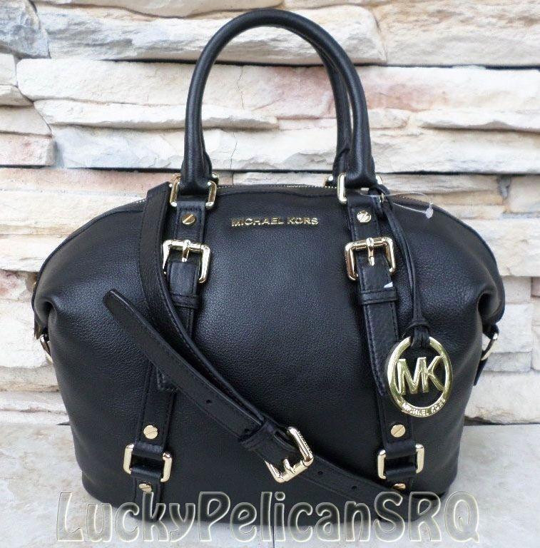 04acf9be9ad Michael Kors Bedford Medium Leather Satchel Purse Bag Handbag Black  35H2GBFS2L #MichaelKors #Satchel