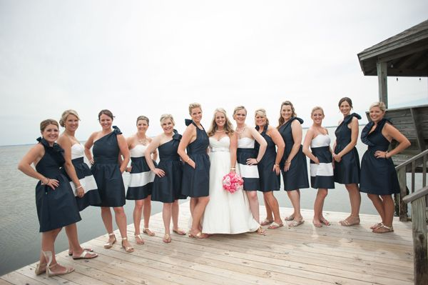 Navy Striped Bridesmaid Dresses