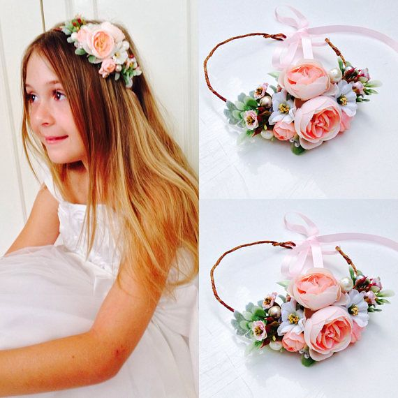 9680cb6f83671 Blush Gold Ivory Flower Crown Blush Flower Girl Crown Bridal ...