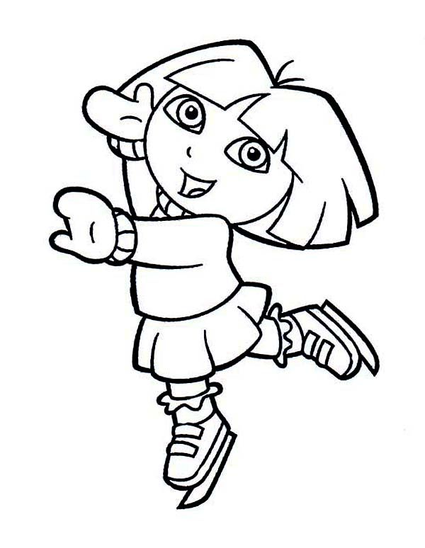 Dora Playing Ice Skates on Winter Coloring Page - Download & Print ...