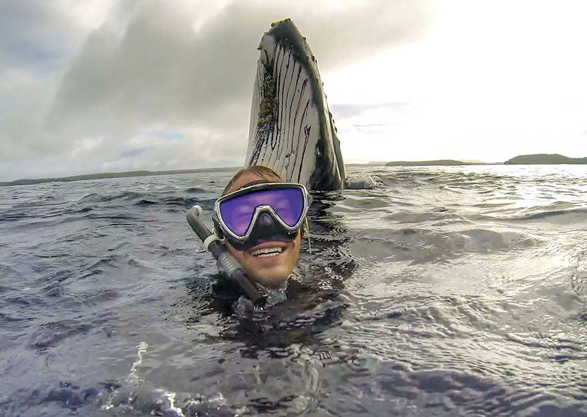 Free diver captures magic moments on video while swimming