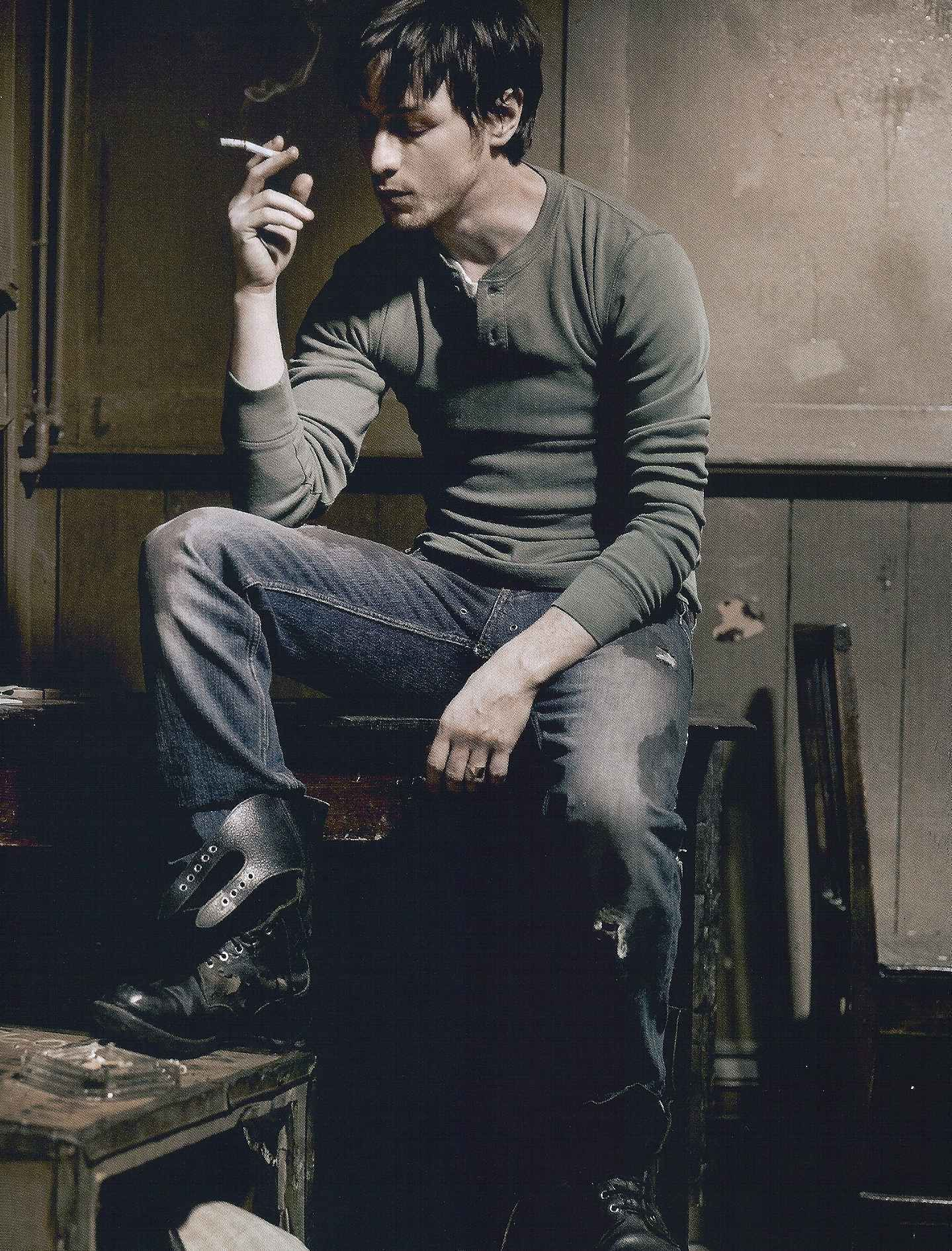James McAvoy smoking a cigarette (or weed)