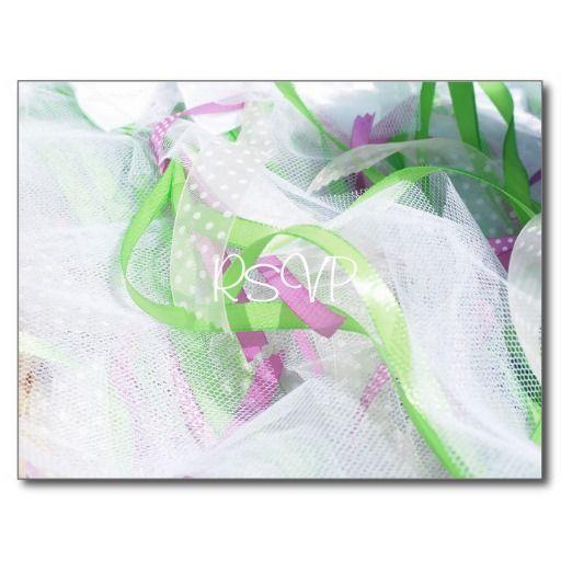 Wedding decorative bows RSVP with Photo and Menu Postcard