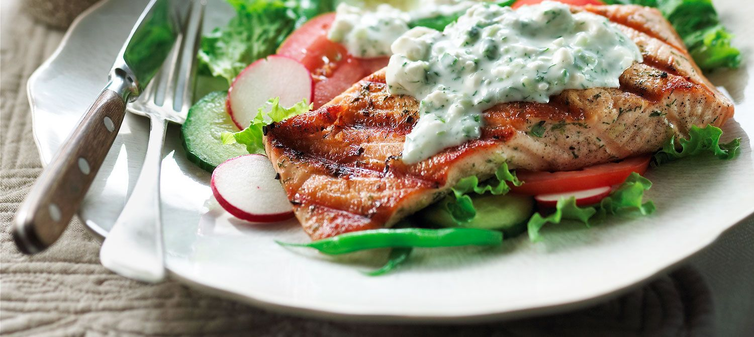 Grilled salmon salad with feta dressing canadian