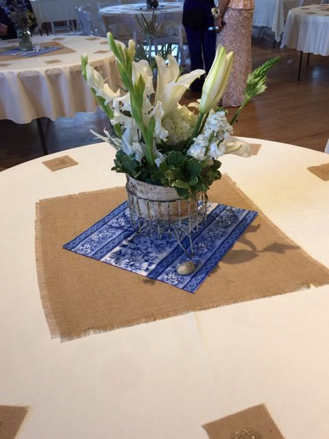 Table centerpiece with Table #. 9.6.15