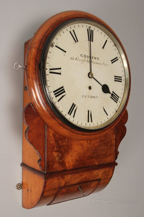 Mid 19th Century Mahogany Drop Dial Wall Clock By Cousens Of London The Original Untouched Painted 10 Inch Dial Having The Makers Name Co Reloj De Pendulo