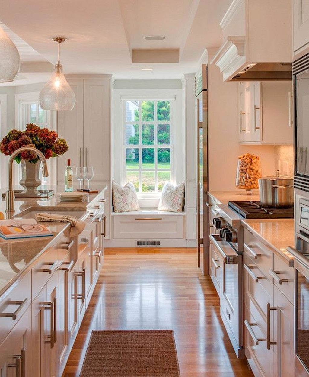 60 Galley Kitchens Inspirations Planning Tips And Gallery Elonahome Com Cottage Style Kitchen Galley Kitchen Remodel Window Seat Kitchen