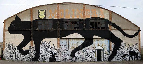 arte urbano - murales - gato negro