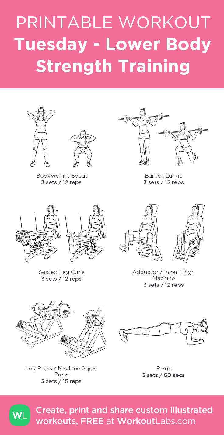 Tuesday - Lower Body Strength Training · WorkoutLabs Fit        Tuesday - Lower Body Strength Traini...