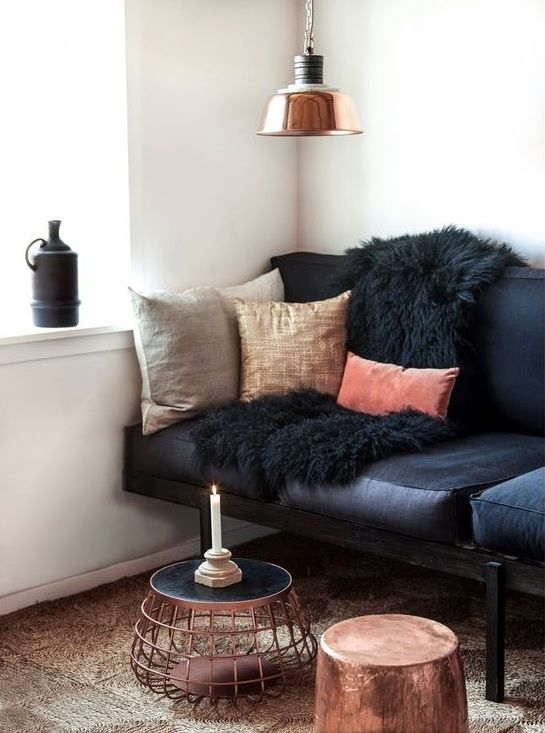 Copper And Black Living Room Decoratin Ideas With Leather Sofa