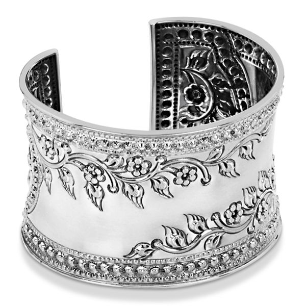 a91970e2b61ba Fashion Cuff Bracelet Etched Floral Design 45mm Wide Sterling Silver ...