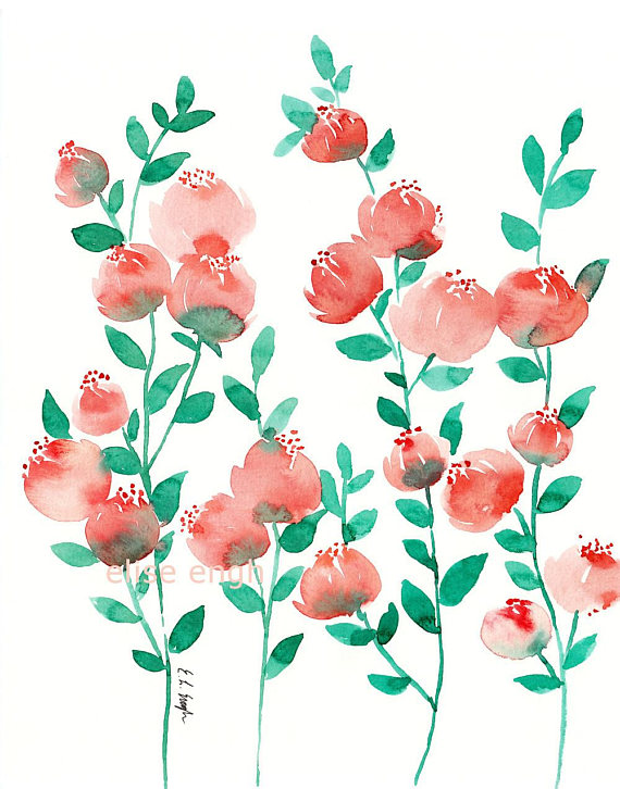 Coral Watercolor Flowers Original Painting Coral Watercolor