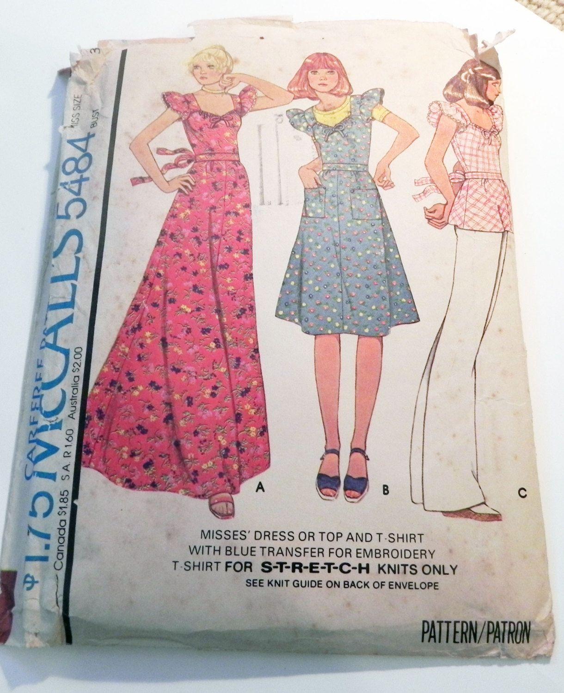 1970s Boho Ruffled Sleeves Peasant Maxi Dress T-shirt sewing pattern ...