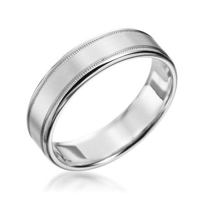 19K White Gold Satin Milgrain Band Classic Collection by #ScottKay