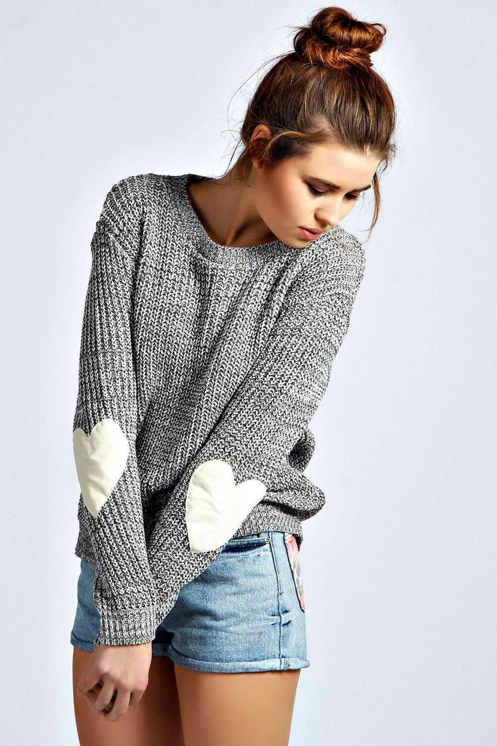 85febd110c Print Long Sleeves Heart Applique Scoop Regular Sweater – risechic.com Fall  Sweaters