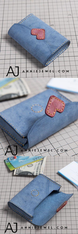 ECHTES Leder Brieftasche HANDGEMACHT HERZ NIEDLICHE KURZE TASCHE CLUTCH CARD TASCHE ... - Taschen #leatherwallets