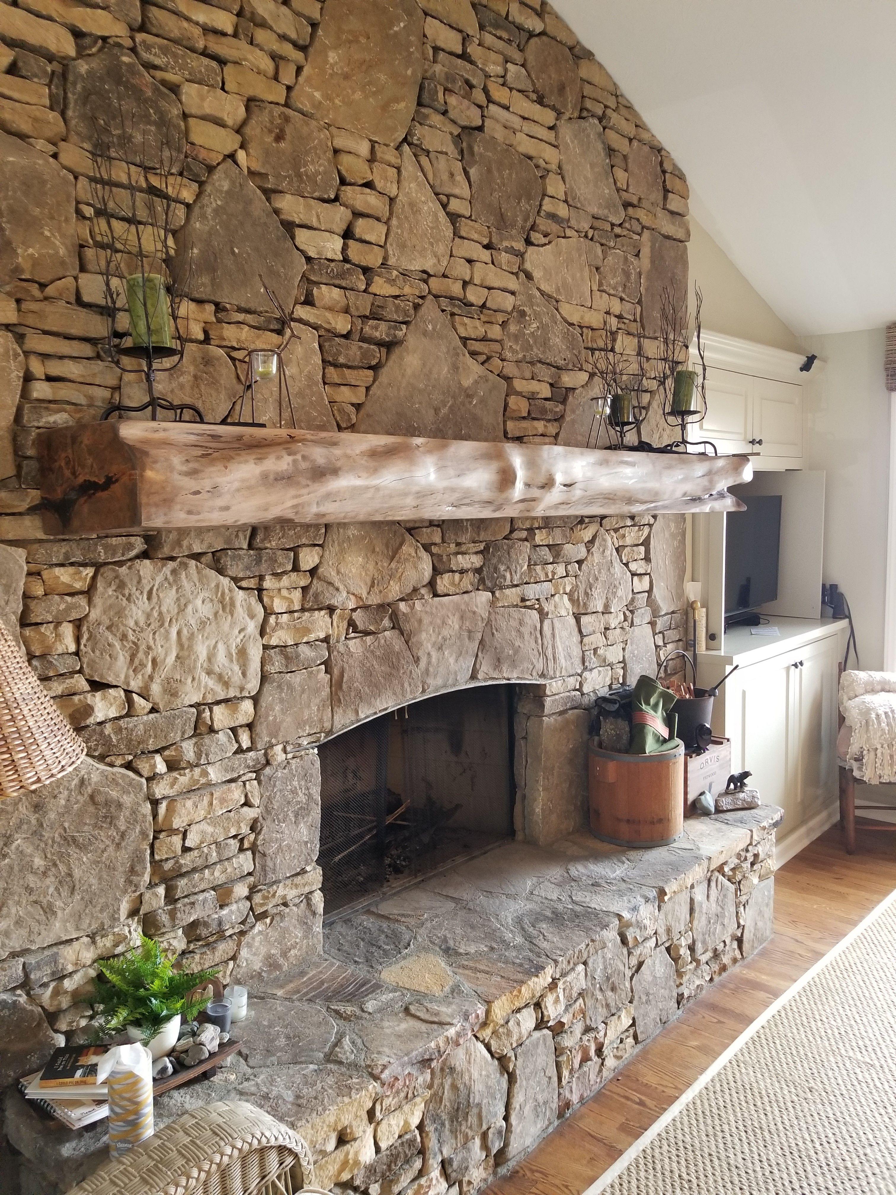 Maple Live Edge Fireplace Mantel Farmhouse Fireplace Fireplace