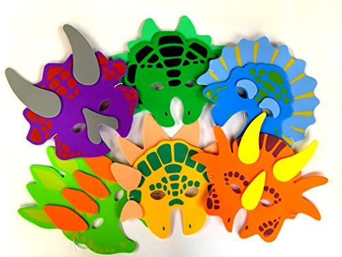1 Dozen Foam Dinosaur Masks, Party Favors For Children, b...