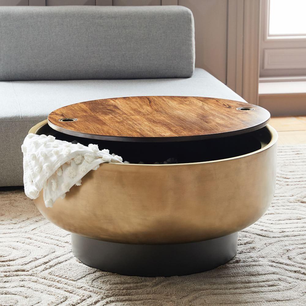 - Drum Storage Coffee Table Drum Coffee Table, Pedestal Coffee